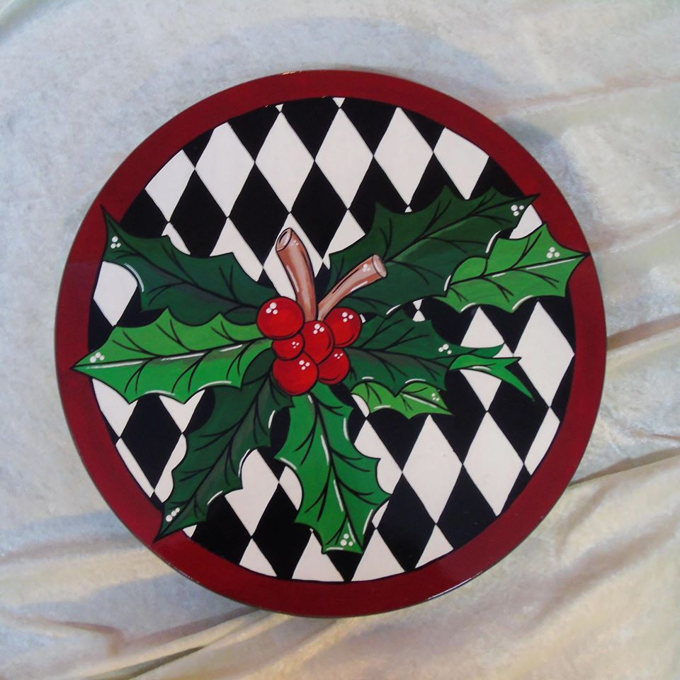 "Hand painted 15""  Holly Lazy Susan £60"